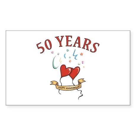 50th Festive Hearts Rectangle Sticker