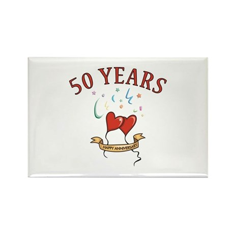 50th Festive Hearts Rectangle Magnet