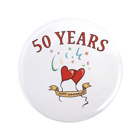 """50th Festive Hearts 3.5"""" Button"""
