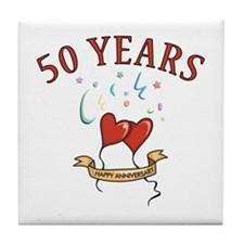 50th Festive Hearts Tile Coaster
