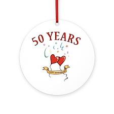 50th Festive Hearts Ornament (Round)
