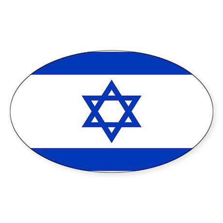 Israeli Flag Oval Sticker (50 pk)