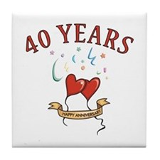 40th Festive Hearts Tile Coaster