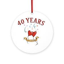40th Festive Hearts Ornament (Round)