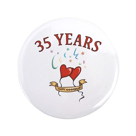 """35th Festive Hearts 3.5"""" Button (100 pack)"""