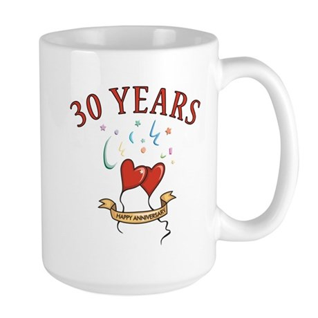 30th Festive Hearts Large Mug