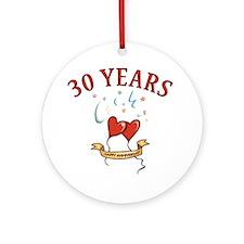30th Festive Hearts Ornament (Round)