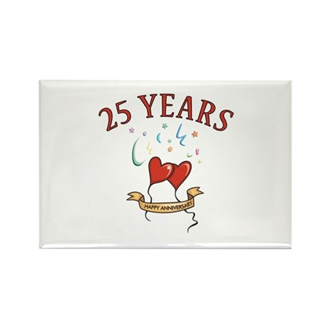 25th Festive Hearts Rectangle Magnet