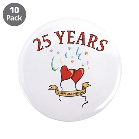 """25th Festive Hearts 3.5"""" Button (10 pack)"""