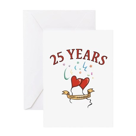 25th Festive Hearts Greeting Card