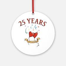 25th Festive Hearts Ornament (Round)