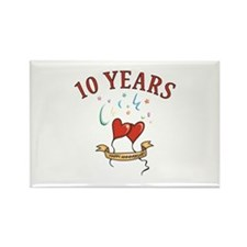 10th Festive Hearts Rectangle Magnet