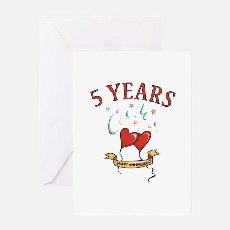 5th Festive Hearts Greeting Card
