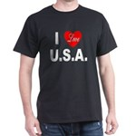 I Love U.S.A. (Front) Black T-Shirt
