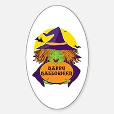 Witch and Cauldron Oval Decal