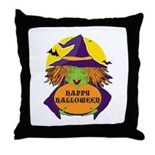 Witch and Cauldron Throw Pillow