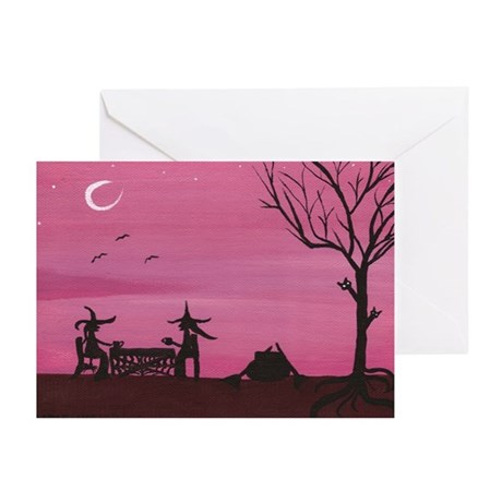 Witch Friendship Fly Greeting Cards (Pk of 20)