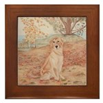 Framed Tile Golden Retriever