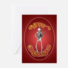 Bagpiper Skeleton Christmas Greeting Cards (Pk of