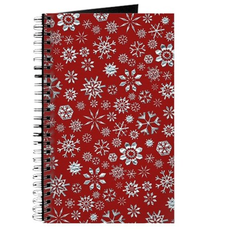 Red and Silver Snowflake Journal