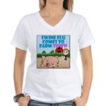 Swine Flu Comes To FarmTown Women's V-Neck T-Shirt