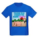 Swine Flu Comes To FarmTown Kids Dark T-Shirt