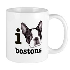 """I Love Bostons"" Small Mugs"