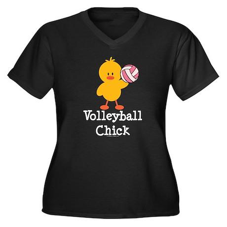 Volleyball Chick Women's Plus Size V-Neck Dark T-S