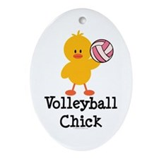 Volleyball Chick Oval Ornament
