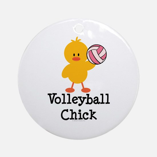 Volleyball Chick Ornament (Round)