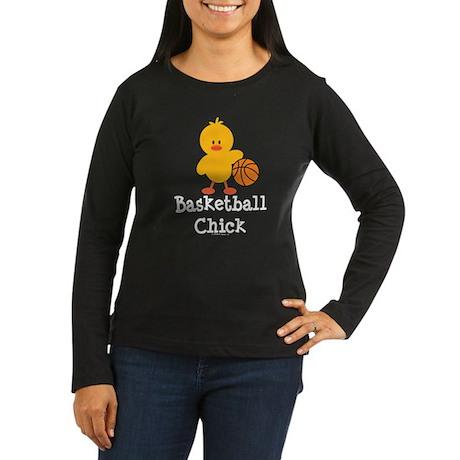 Basketball Chick Women's Long Sleeve Dark T-Shirt