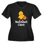 Basketball Chick Women's Plus Size V-Neck Dark T-S
