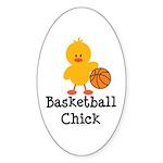 Basketball Chick Oval Sticker (10 pk)