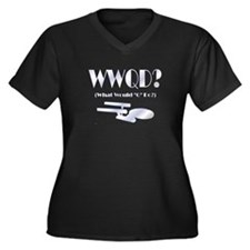 WWQD? Women's Plus Size V-Neck Dark T-Shirt