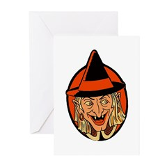 Retro Sneaky Witch Greeting Cards (Pk of 20)
