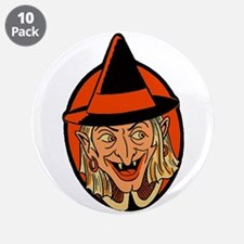 """Retro Sneaky Witch 3.5"""" Button (10 pack)"""
