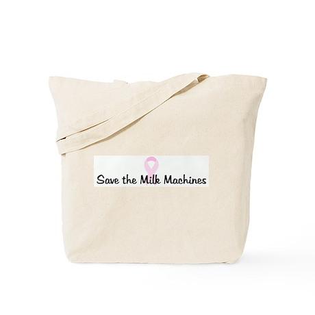 Save the Milk Machines pink r Tote Bag
