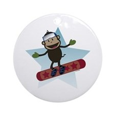 Snowboard Monkey Ornament (Round)