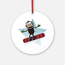 Snowboard Monkey Ornament (Round)