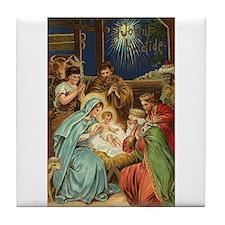 Yuletide Vintage Christmas Nativity Tile Coaster
