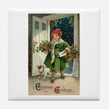 Vintage Christmas Art Tile Coaster