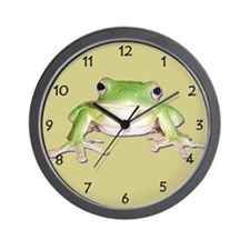 Green Tree Frog Wall Clock