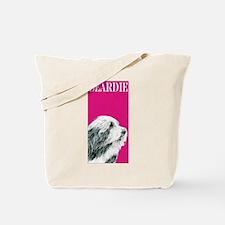 Pop Pink Bearded Collie Beardie Tote Bag