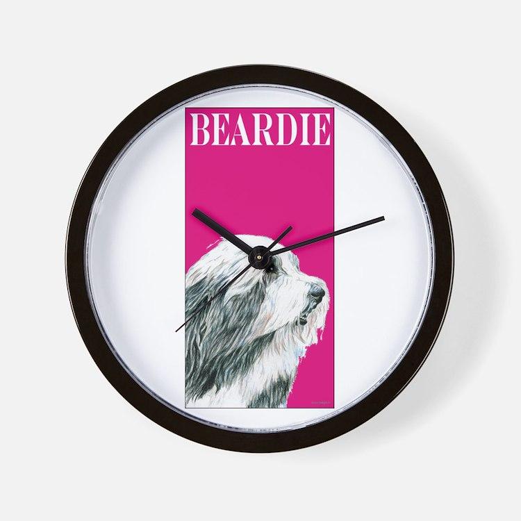 Pop Pink Bearded Collie Beardie Wall Clock