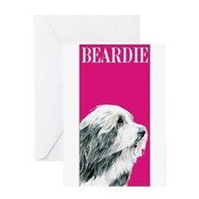 Pop Pink Bearded Collie Beardie Greeting Card