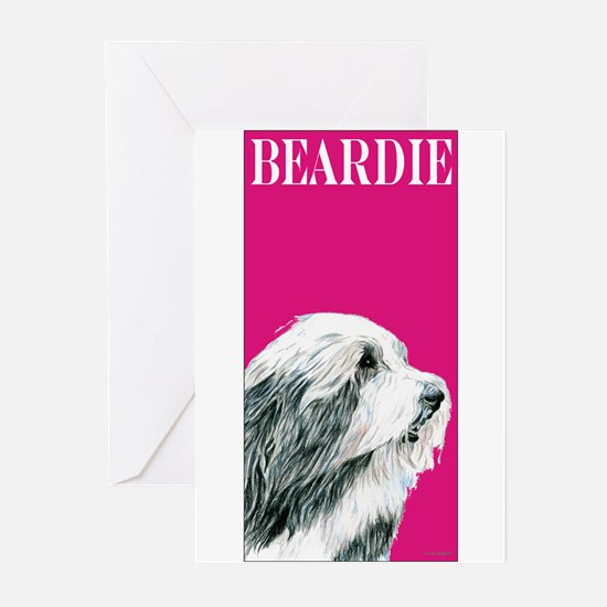 Pop Pink Bearded Collie Greeting Cards (Pk of 10)