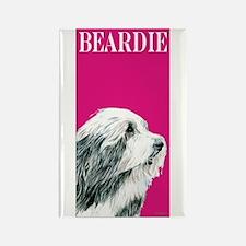Pop Pink Bearded Collie Beardie Rectangle Magnet