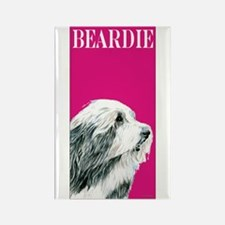 Pop Pink Bearded Collie Rectangle Magnet (10 pack)