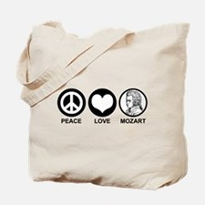 Peace Love Mozart Tote Bag