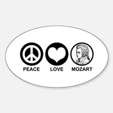 Peace Love Mozart Oval Decal
